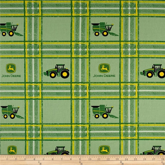 John Deere Fabric By The Yard John Deere Tractor Fabric Plaid John Deere Fabric By The Yard Farm Fabric Nursery Fabric 17294