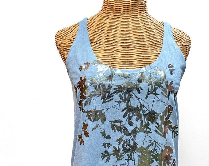 tank top bloom / botanical tank top / garden design shirt / botanic tank top / floral tank top / hand printed tank /spices print /foil print