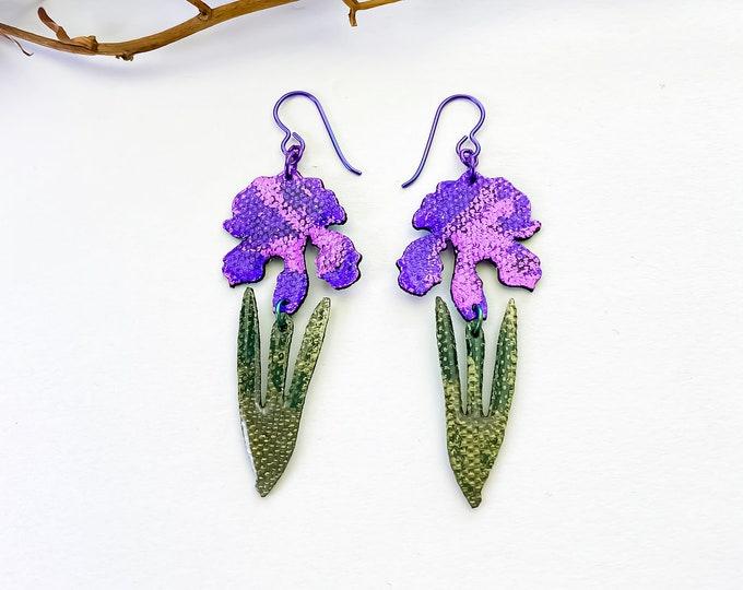 Iris Earrings / Floral Fabric Earrings / Screen printed / Lightweight dangles / flower Earrings / floral Earrings / Botanical art