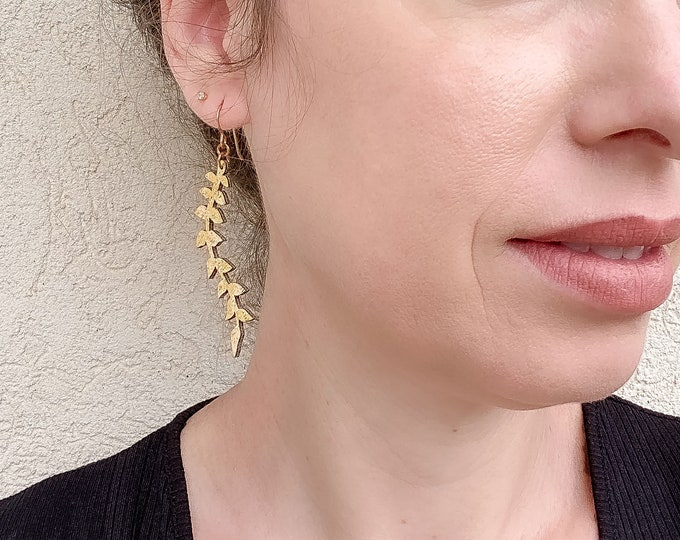 Ivy Floral Fabric Earrings, screen printed, super lightweight danglesPetal Earrings, Leaf Earrings, Lightweight Earrings