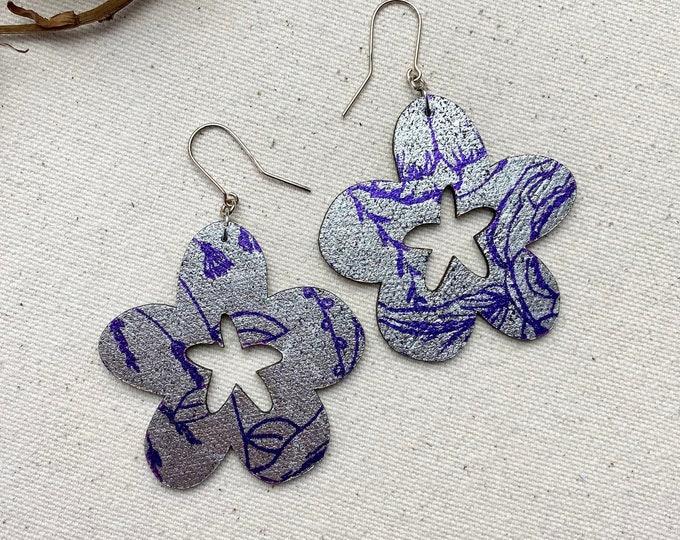 Flower Child Floral Fabric Earrings, screen printed earrings, Petal Earrings, Leaf Earrings, Lightweight Earrings