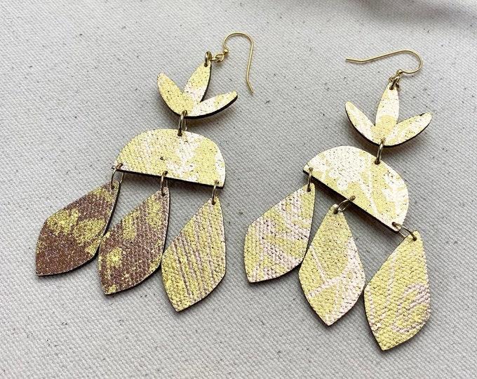 Trifoliate Floral Fabric Earrings, screen printed earrings, Petal Earrings, Leaf Earrings, Lightweight Earrings