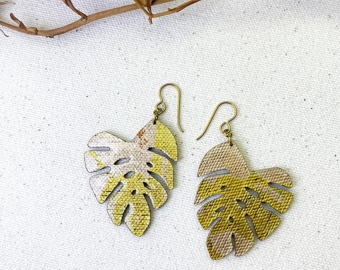 Monstera - Floral Fabric Foil Earrings / screen printed earrings / Petal Earrings / Leaf Earrings / Lightweight Earrings / Fabric earrings