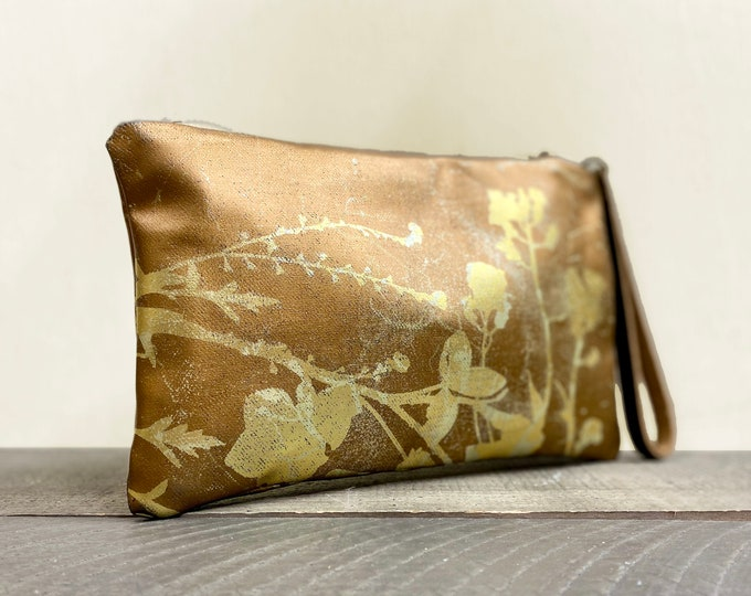 BOTANICAL Purse /small bag /makeup case /cosmetic pours/ ORGANIZER pouch - screen printed foil original wildflowers art work hand printed