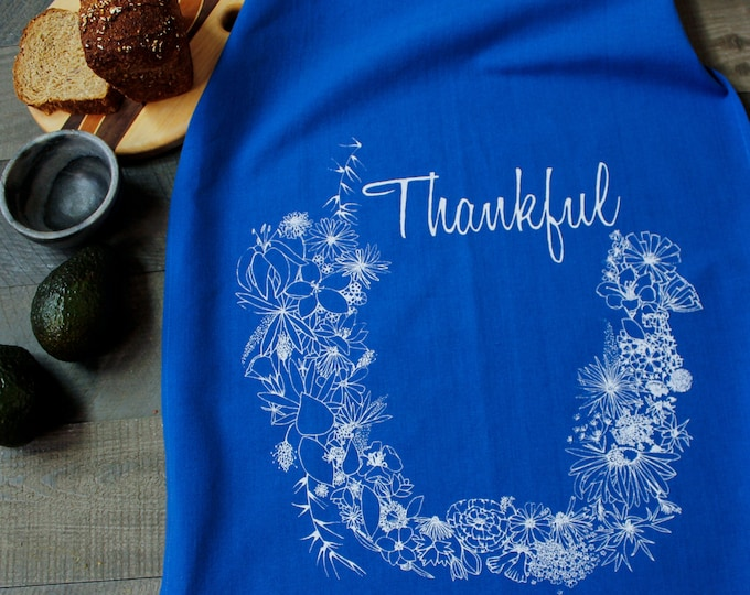 THANKFUL hand printed kitchen towel