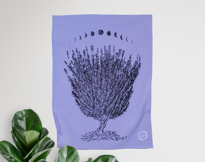 LAVENDER MOON - hand printed tea towel /Handmade gift / Hand Printed Kitchen / Zero Waste Gifts / Housewarming Gift / Dishtowel art