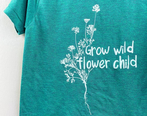 Grow wild flower child screeprinted graphic t shirt