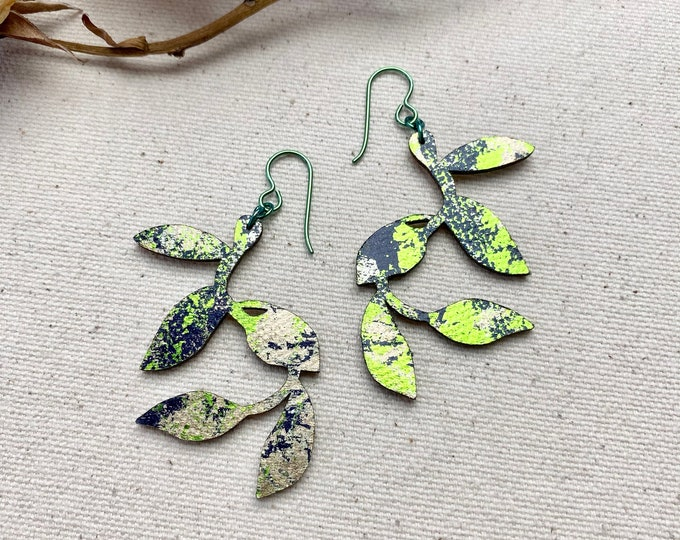 Morning Glory - Floral Fabric Foil Earrings/ screen printed earrings/ Petal Earrings/ Leaf Earrings / Lightweight Earrings / Fabric earrings