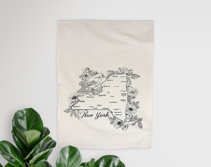 NEW YORK Blue Bird - hand printed tea towel /Dish towel / hostess gift / kitchen towel / handmade gift