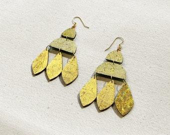 Trifoliate Floral Fabric Earrings, screen printed, super lightweight dangles