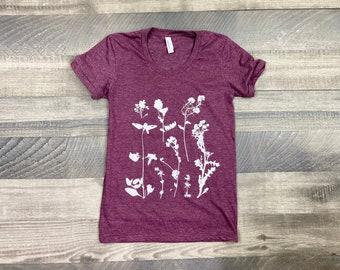 Garden Wildflowers graphic t shirt