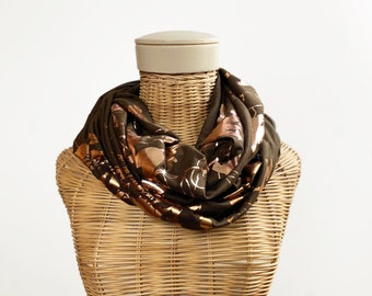 Botanical screen printed scarf, infinity scarf, screen printed scarf, jersey scarf, printed scarf, circle scarf