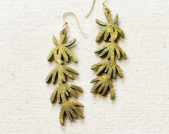 Hyssop Floral Fabric Earrings, screen printed, super lightweight dangles