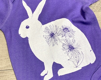 Bunny handprinted Infant Baby Rib One Piece Onesie