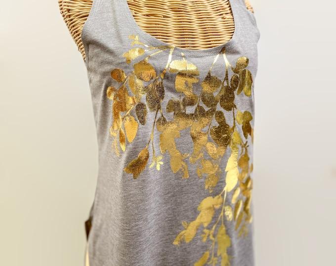 tank top bloom / botanical tank top /garden design shirt / botanic tank top / floral tank top / hand printed tank