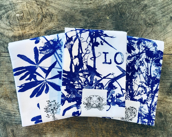 Wildflowers Love +  wildflowers Heart + Wildflowers Bouquet hand printed kitchen towels