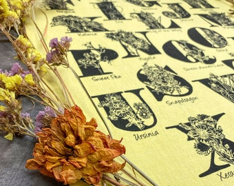 Flowers ABC  hand printed kitchen towel