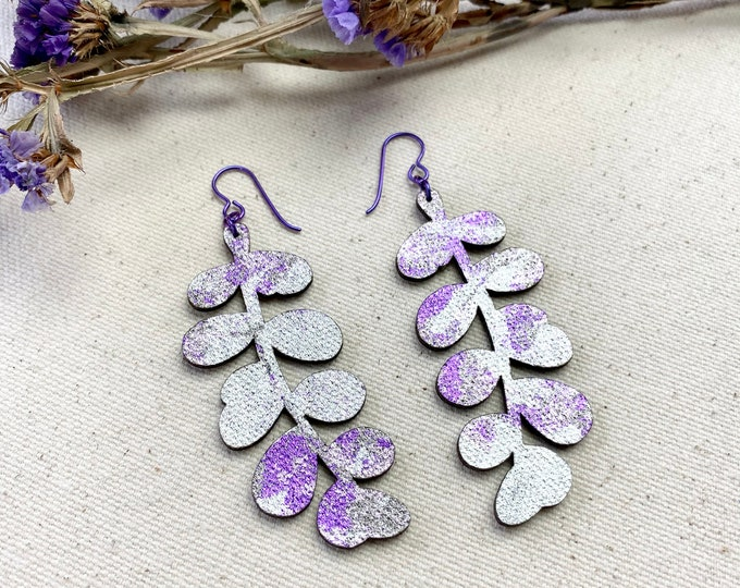 Moneyworth Floral Fabric Earrings, screen printed, super lightweight dangles