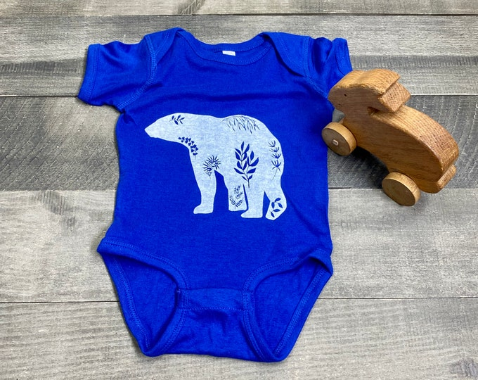 POLAR BEAR handprinted Infant Baby Rib One Piece Onesie