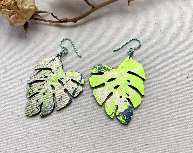 Monstera - Floral Fabric Foil Earrings / screen printed earrings / Petal Earrings / Leaf Earrings / Lightweight Earrings / Fabric earrings
