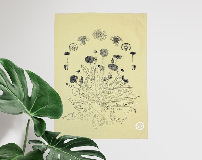 Dandelion & Honeybees - hand printed Tea Towel / Handmade gift / Hand Printed Kitchen / Zero Waste Gifts / Housewarming Gift / Dishtowel art