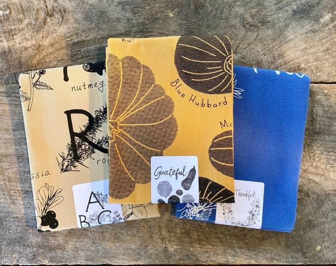 Grateful + Thankful + ABC herbs & spices / Hand Printed Towel Trio - 3pk - Handmade Kitchen Towel Tea Towel Dish Towel