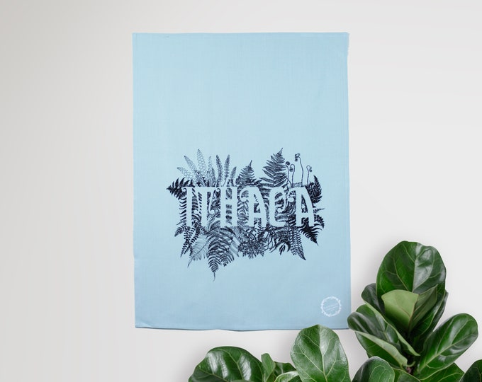 ITHACA - hand printed tea towel /Handmade gift / Hand Printed Kitchen / Zero Waste Gifts / Housewarming Gift / Dishtowel art
