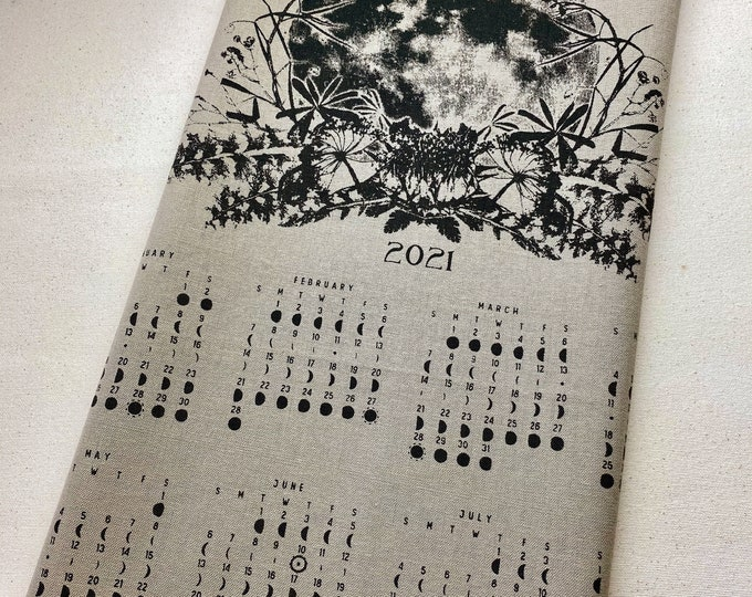 2021 Lunar Phase Calendar /  Dish towel moon art Fabric color Gray