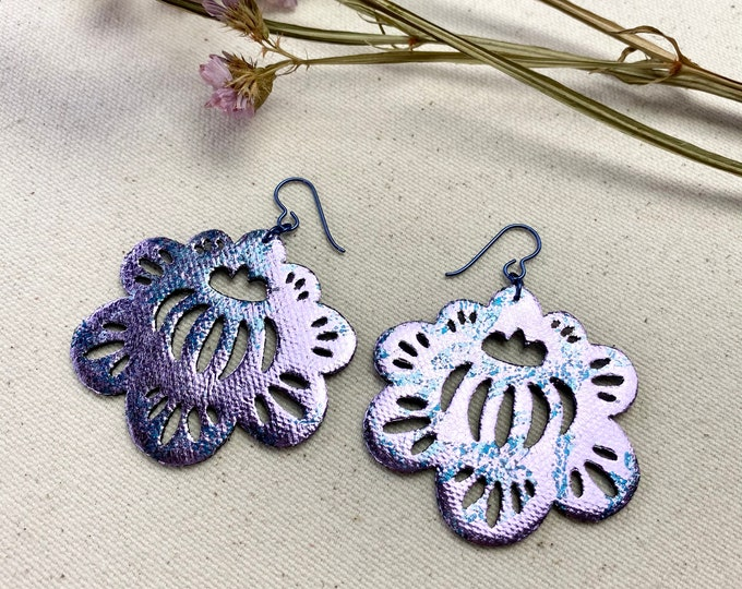 Floral Motif Foil Fabric Earrings, screen printed, super lightweight dangles