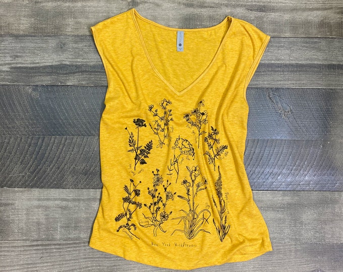 New York State wildflowers handprinted women's top