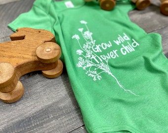 Grow Wild Flower Child handprinted Infant Baby Rib One Piece Onesie
