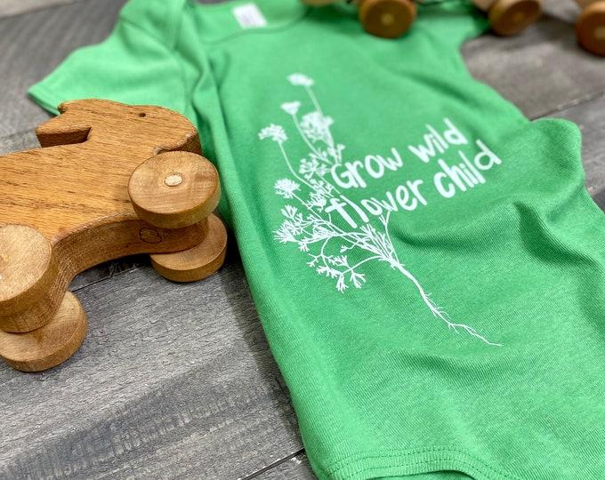 Grow Wild Flower Child handprinted Infant Baby Rib One Piece Onesie