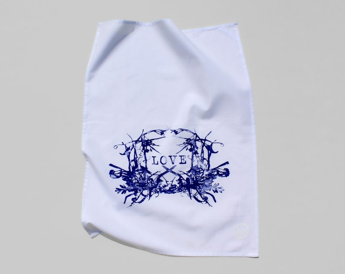 WILDFLOWERS LOVE - hand printed tea towel / Handmade gift / Hand Printed Kitchen / Zero Waste Gifts / Housewarming Gift / Dishtowel art