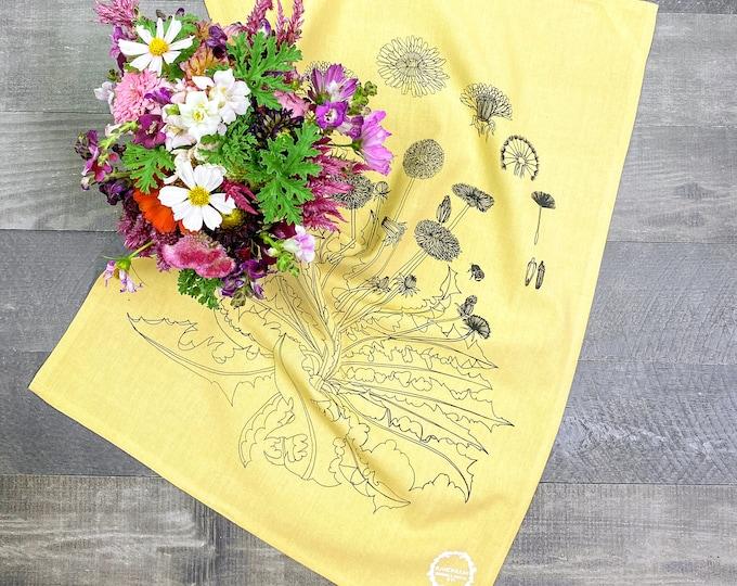 Dandelion & Honeybees hand printed kitchen towel