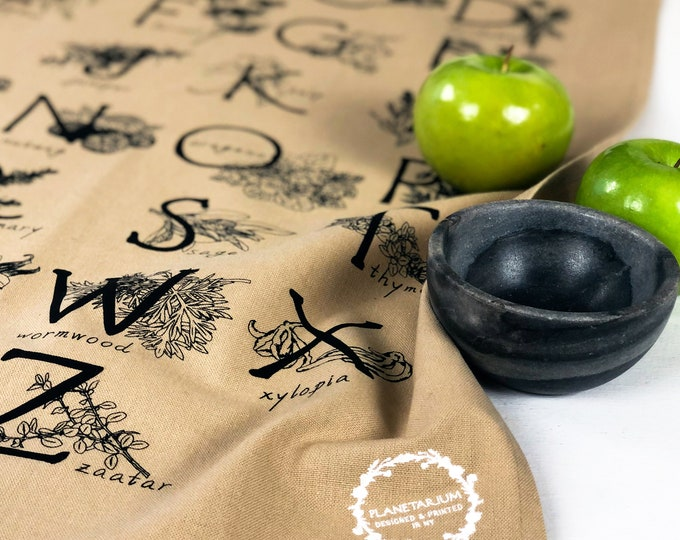 Featured listing image: ABC HERBS & SPICES hand printed kitchen towel