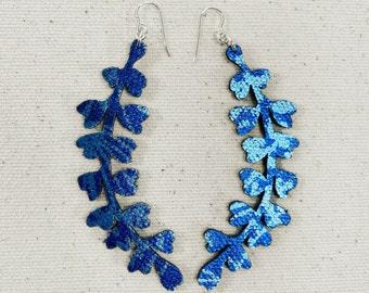 Heart Ferns Floral Fabric Earrings, screen printed, super lightweight dangles