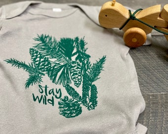 Stay Wild handprinted Infant Baby Rib One Piece Onesie