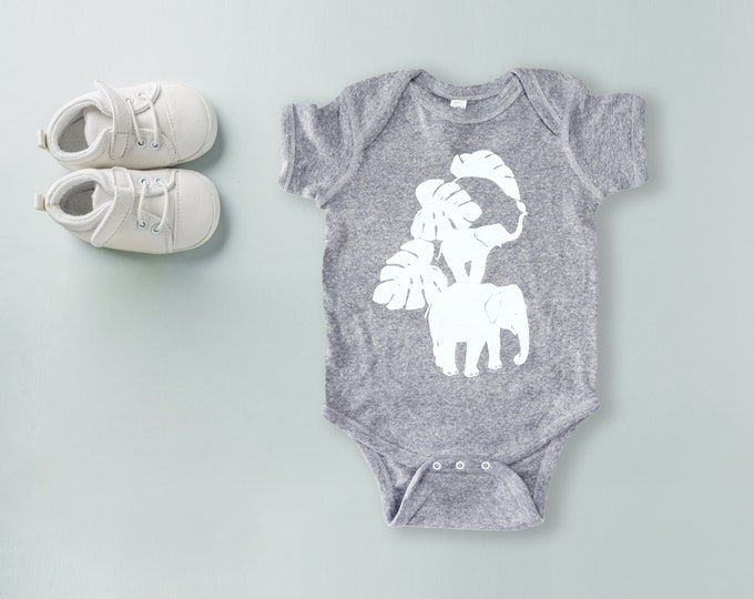 Elephants handprinted Infant Baby Rib One Piece Onesie