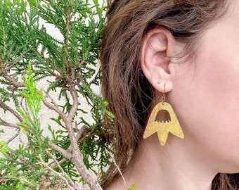 Tulip Floral Fabric Earrings, screen printed, super lightweight dangles
