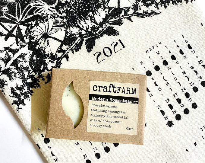 Gift set 2021 moon calendar + Rustic Soap - Modern Homesteader / gift wrapping included / Moon phase print / Luna calendar /Towel  moon art