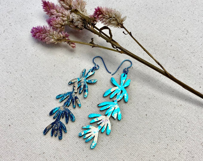 Hyssop Floral Fabric Earrings, screen printed earrings / Petal Earrings, Leaf Earrings, Lightweight Earrings