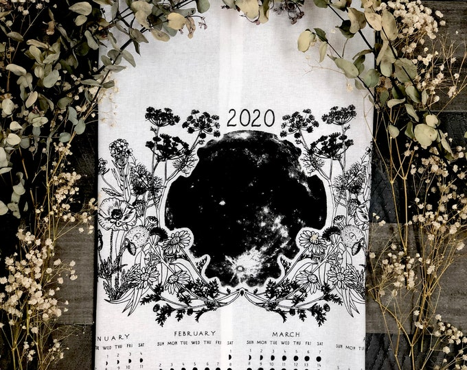 Featured listing image: 2020 moon calendar, 2020 moon phase, Art calendar, Lunar / Moon phase print, Luna calendar, Moon Lunar towel moon art