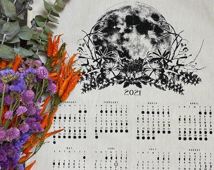 2021 Lunar Phase Calendar /  2021 moon calendar /  Art calendar  / Moon phase print / Luna calendar / Dish towel moon art