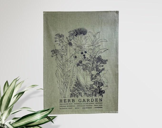 HERB GARDEN - hand printed tea towel /Dish towel / hostess gift / kitchen towel / handmade gift