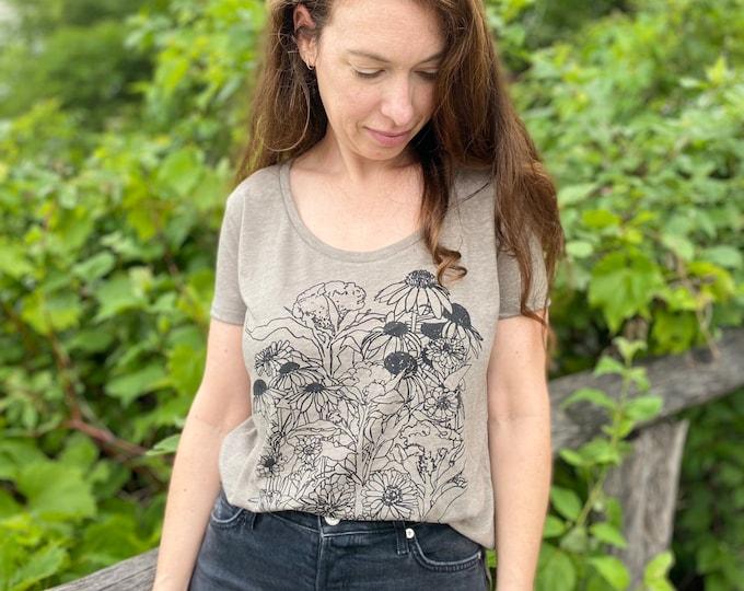 ZINNIAS tank top / botanical top /floral top /hand printed shirt /t-shirt