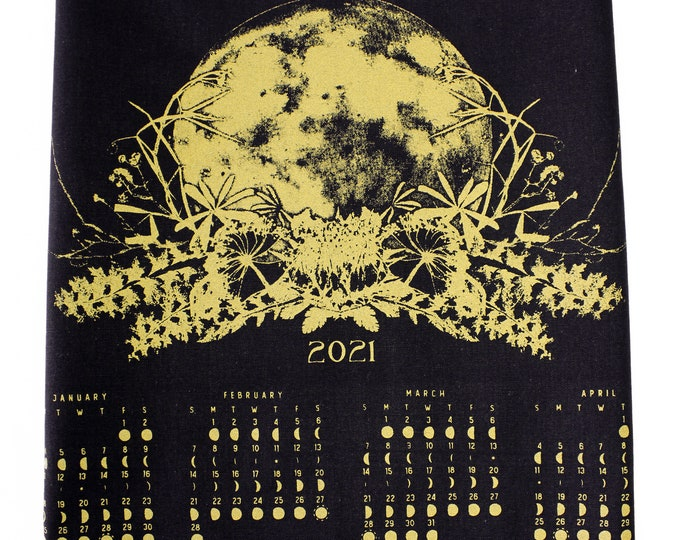 SPECIAL EDITON gold 2021 Lunar Calendar towel / Astronomy Gift / Moon Phase /Moon Calendar /Full Moon Art / Lunar Phase Art / Black and Gold