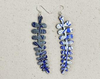 Ferns Floral Fabric Earrings, screen printed, super lightweight dangles