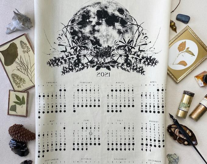 2021 moon calendar, 2021 moon phase, Art calendar, Lunar / Moon phase print, Luna calendar, Moon Lunar towel moon art