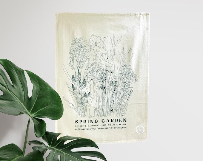 SPRING GARDEN - hand printed tea towel /Dish towel / hostess gift / kitchen towel / handmade gift
