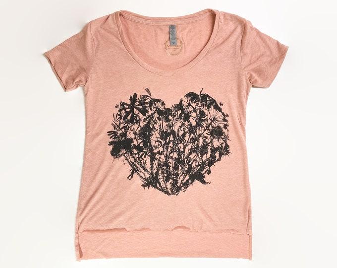 WILDFLOWERS HEART shirt / botanical top /floral top /hand printed shirt /t-shirt